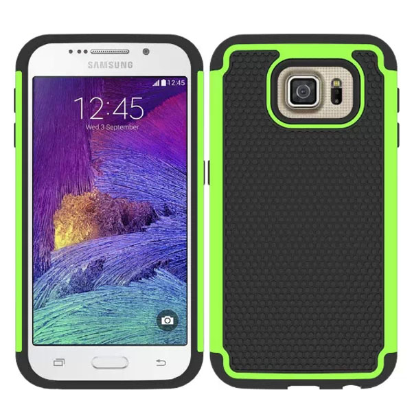 Football Texture Antiskid Rugged Silicone and PC Hybrid Protective Case for Samsung Galaxy S6 (Lime)