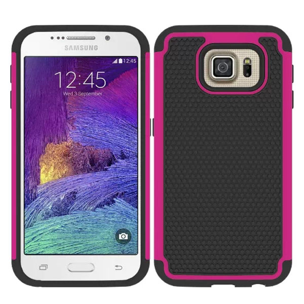 Football Texture Antiskid Rugged Silicone and PC Hybrid Protective Case for Samsung Galaxy S6 (Rose)