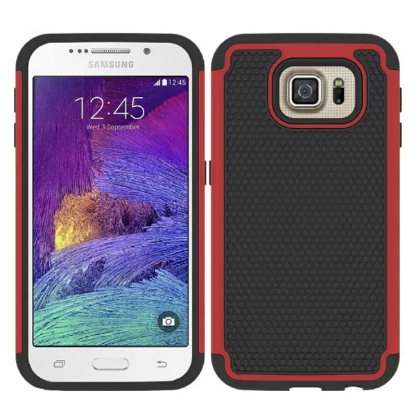 Football Texture Antiskid Rugged Silicone and PC Hybrid Protective Case for Samsung Galaxy S6 (Red)