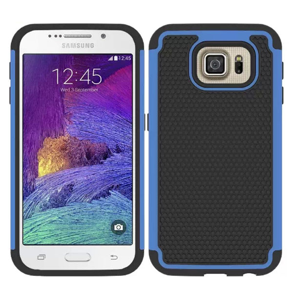 Football Texture Antiskid Rugged Silicone and PC Hybrid Protective Case for Samsung Galaxy S6 (Blue)