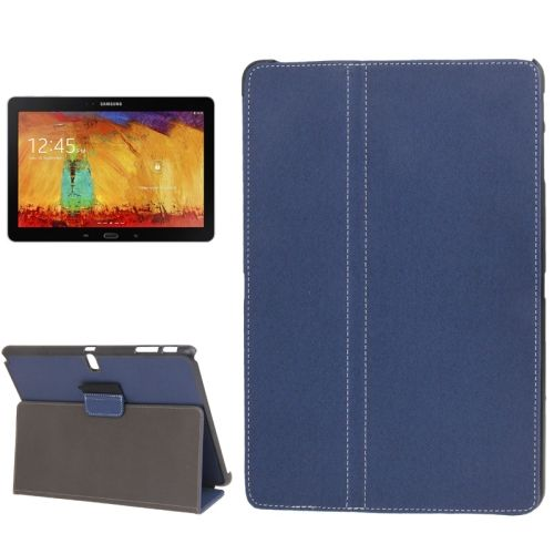 Denim Texture 2 Folding Leather Case for Samsung Galaxy Note 10.1 with Holder (Dark Blue)