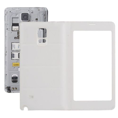 Flip PU Leather Case and Plastic Replacement Back Cover for Samsung Galaxy Note 4 (White)