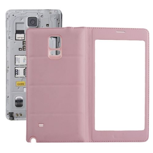 Flip PU Leather Case and Plastic Replacement Back Cover for Samsung Galaxy Note 4 (Pink)