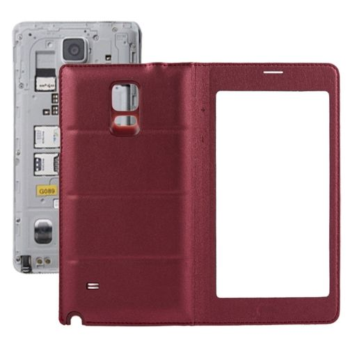 Flip PU Leather Case and Plastic Replacement Back Cover for Samsung Galaxy Note 4 (Redwine)