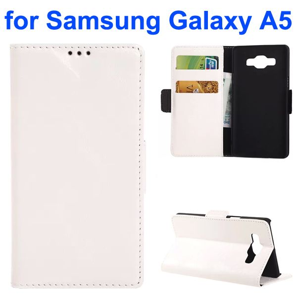 Oil Coated Crazy Horse Wallet Style Leather Flip Cover for Samsung Galaxy A5 (White)