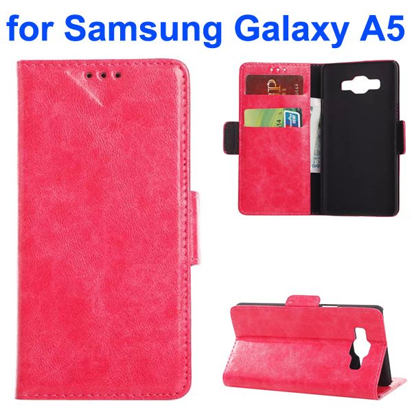 Oil Coated Crazy Horse Wallet Style Leather Flip Cover for Samsung Galaxy A5 (Rose)
