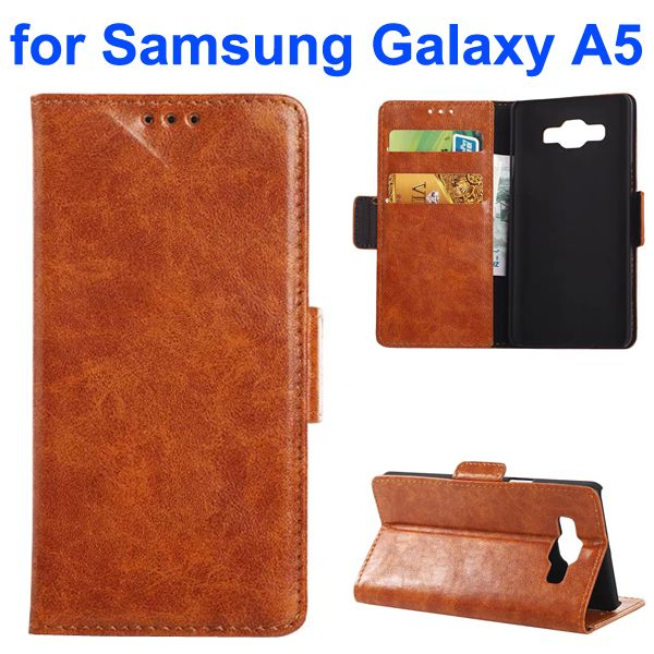 Oil Coated Crazy Horse Wallet Style Leather Flip Cover for Samsung Galaxy A5 (Brown)