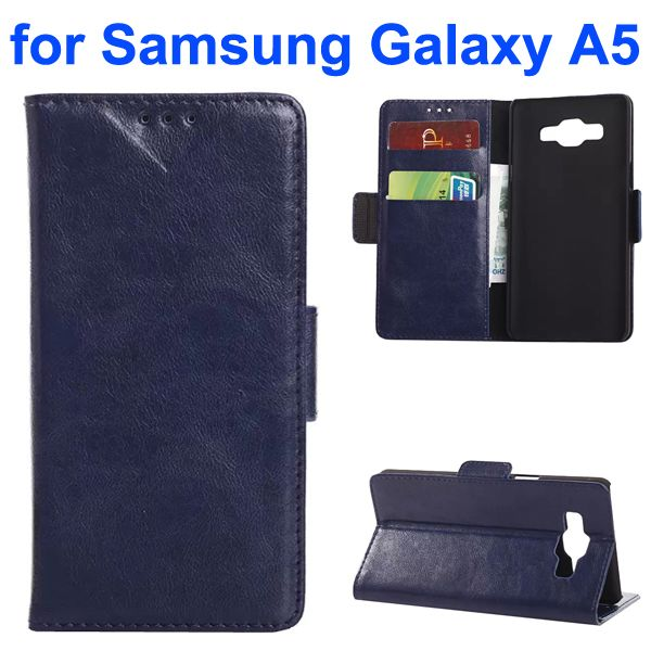 Oil Coated Crazy Horse Wallet Style Leather Flip Cover for Samsung Galaxy A5 (Dark Blue)