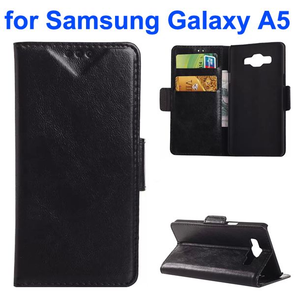 Oil Coated Crazy Horse Wallet Style Leather Flip Cover for Samsung Galaxy A5 (Black)