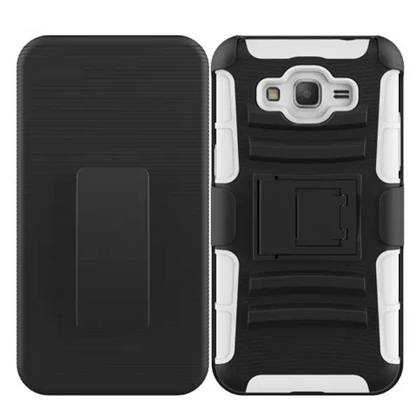 3 in 1 Snap-On Silicone and PC Case for Samsung Galaxy Grand Prime with Kickstand (White)