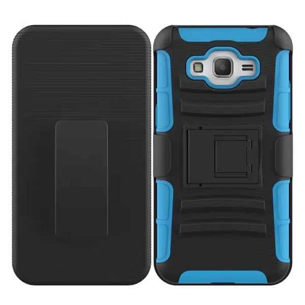 3 in 1 Snap-On Silicone and PC Case for Samsung Galaxy Grand Prime with Kickstand (Light Blue)
