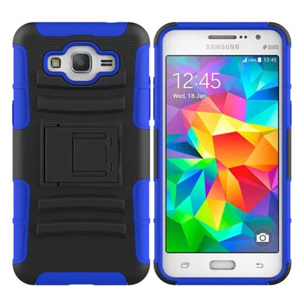 3 in 1 Snap-On Silicone and PC Case for Samsung Galaxy Grand Prime with Kickstand (Dark Blue)