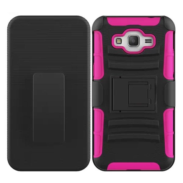 3 in 1 Snap-On Silicone and PC Case for Samsung Galaxy Grand Prime with Kickstand (Rose)