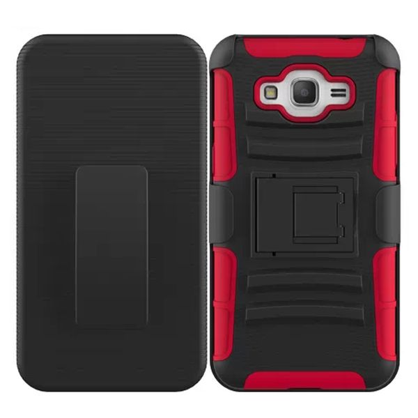 3 in 1 Snap-On Silicone and PC Case for Samsung Galaxy Grand Prime with Kickstand (Red)