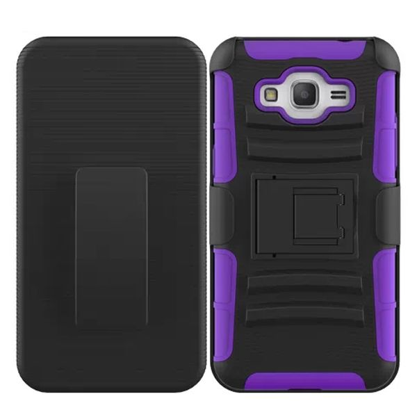 3 in 1 Snap-On Silicone and PC Case for Samsung Galaxy Grand Prime with Kickstand (Purple)
