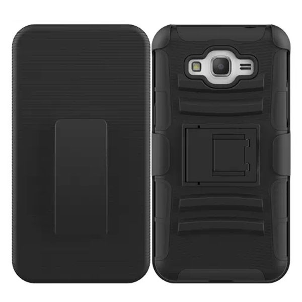 3 in 1 Snap-On Silicone and PC Case for Samsung Galaxy Grand Prime with Kickstand (Black)