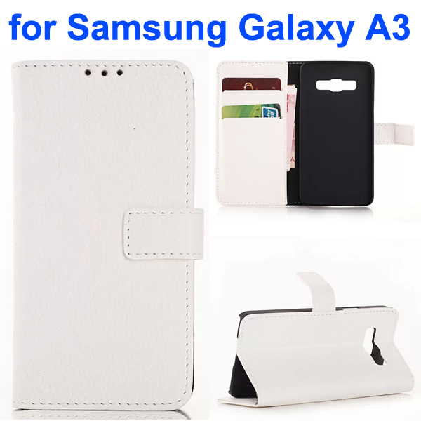 Litchi Texture Wallet Style Leather Flip Cover Case for Samsung Galaxy A3 (White)