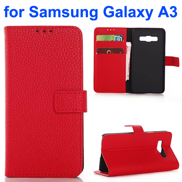 Litchi Texture Wallet Style Leather Flip Cover Case for Samsung Galaxy A3 (Red)