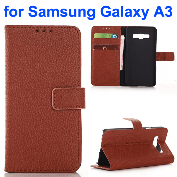 Litchi Texture Wallet Style Leather Flip Cover Case for Samsung Galaxy A3 (Brown)