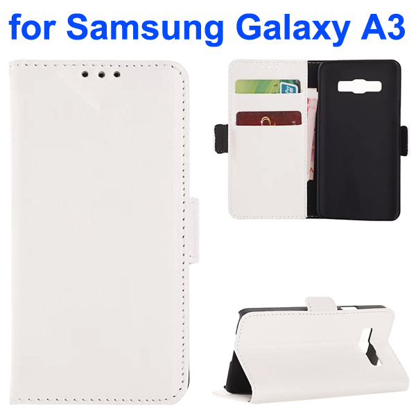 Oil Coated Pattern PU Leather Wallet Style Flip Case for Samsung Galaxy A3 (White)