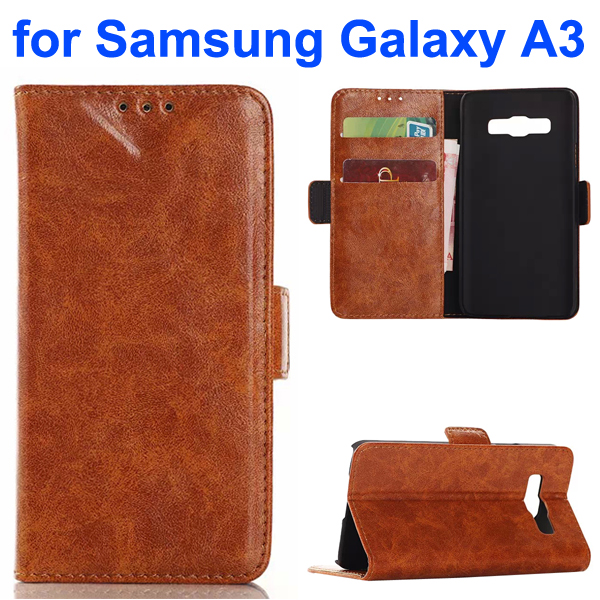 Oil Coated Pattern PU Leather Wallet Style Flip Case for Samsung Galaxy A3 (Brown)