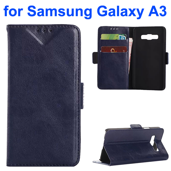 Oil Coated Pattern PU Leather Wallet Style Flip Case for Samsung Galaxy A3 (Dark Blue)