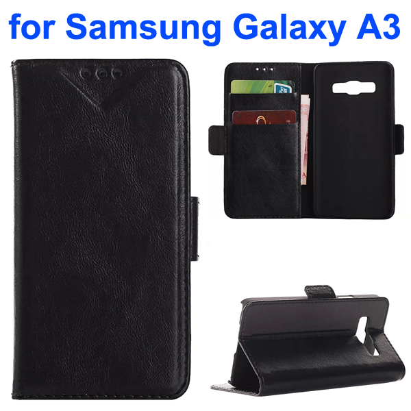 Oil Coated Pattern PU Leather Wallet Style Flip Case for Samsung Galaxy A3 (Black)