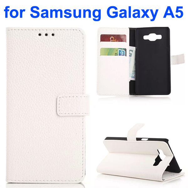 Litchi Texture Leather Flip Cover for Samsung Galaxy A5 (White)