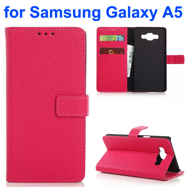 Litchi Texture Leather Flip Cover for Samsung Galaxy A5 (Rose)