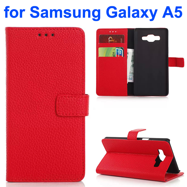 Litchi Texture Leather Flip Cover for Samsung Galaxy A5 (Red)