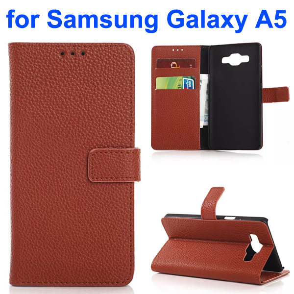 Litchi Texture Leather Flip Cover for Samsung Galaxy A5 (Brown)