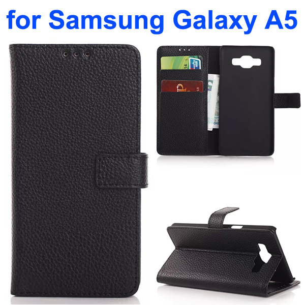 Litchi Texture Leather Flip Cover for Samsung Galaxy A5 (Black)