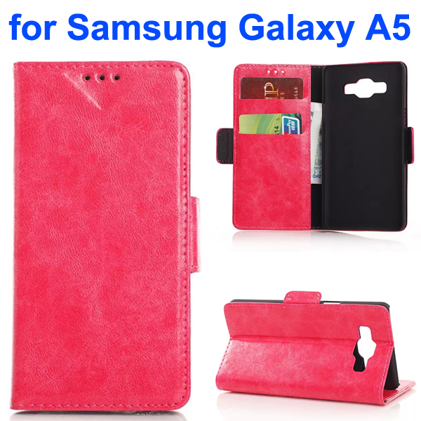 Oil Coated Pattern PU Leather Flip Cover for Samsung Galaxy A5 (Rose)