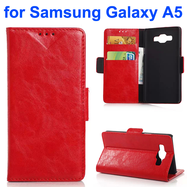 Oil Coated Pattern PU Leather Flip Cover for Samsung Galaxy A5 (Red)