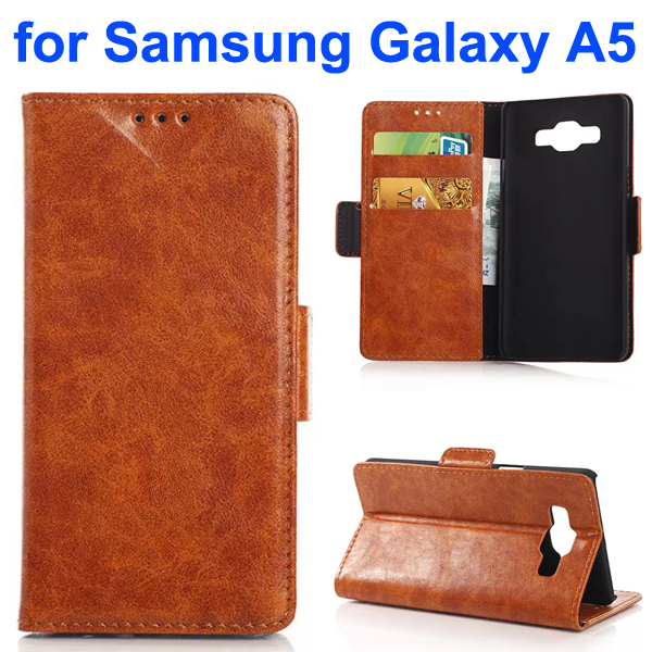Oil Coated Pattern PU Leather Flip Cover for Samsung Galaxy A5 (Brown)