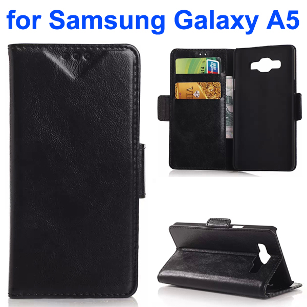 Oil Coated Pattern PU Leather Flip Cover for Samsung Galaxy A5 (Black)