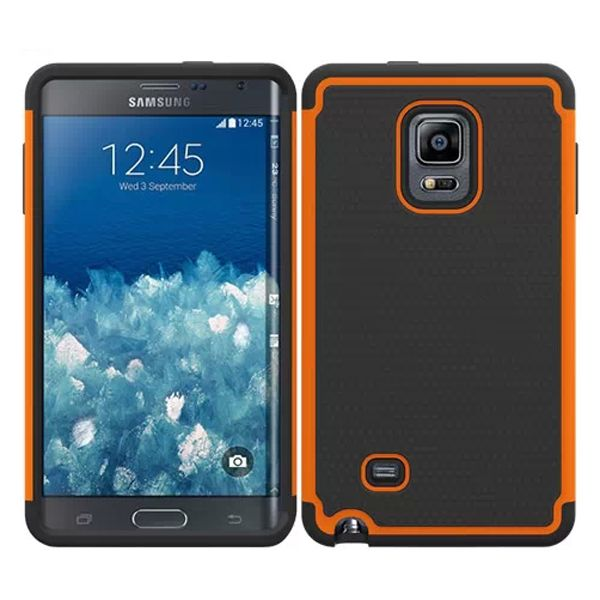 Football Texture Hybrid Rugged Protective Case for Samsung Galaxy Note Edge (Orange)