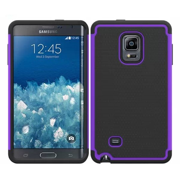 Football Texture Hybrid Rugged Protective Case for Samsung Galaxy Note Edge (Purple)