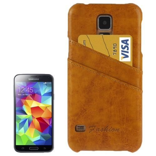 Deluxe Retro PU Leather Back Case for Samsung Galaxy S5 with Card Slots (Light Brown)