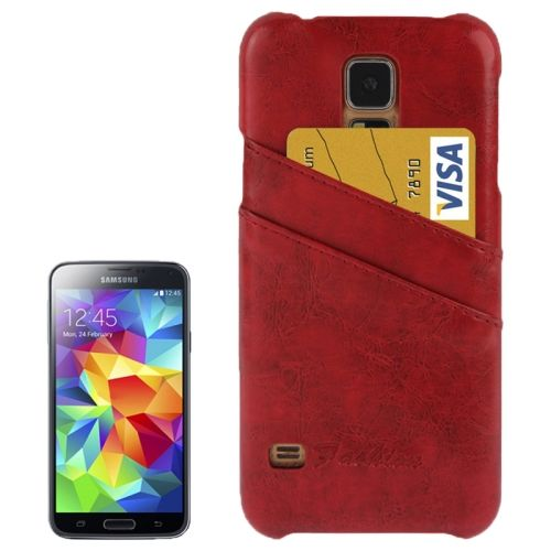 Deluxe Retro PU Leather Back Case for Samsung Galaxy S5 with Card Slots (Red)