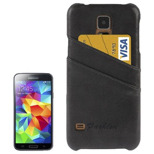 Deluxe Retro PU Leather Back Case for Samsung Galaxy S5 with Card Slots (Black)