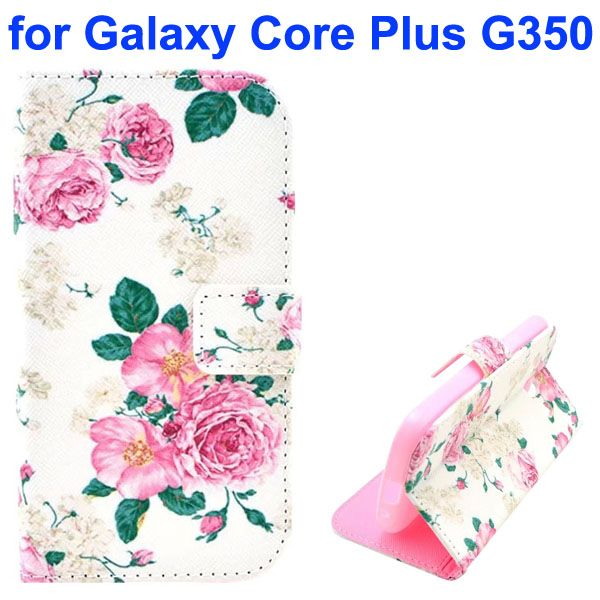 3D Printing Cross Texture Wallet Flip Leather Case for Samsung Galaxy Core Plus G350 (The Jasmine)