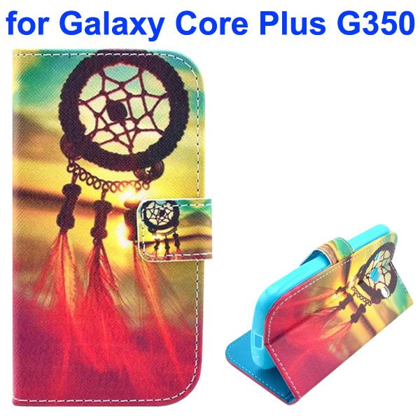 3D Printing Cross Texture Wallet Flip Leather Case for Samsung Galaxy Core Plus G350 (Dreamcatcher)