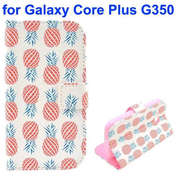 3D Printing Cross Texture Wallet Flip Leather Case for Samsung Galaxy Core Plus G350 (Pineapple)