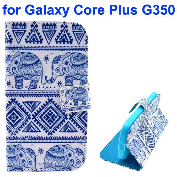 3D Printing Cross Texture Wallet Flip Leather Case for Samsung Galaxy Core Plus G350 (Tribal Style)