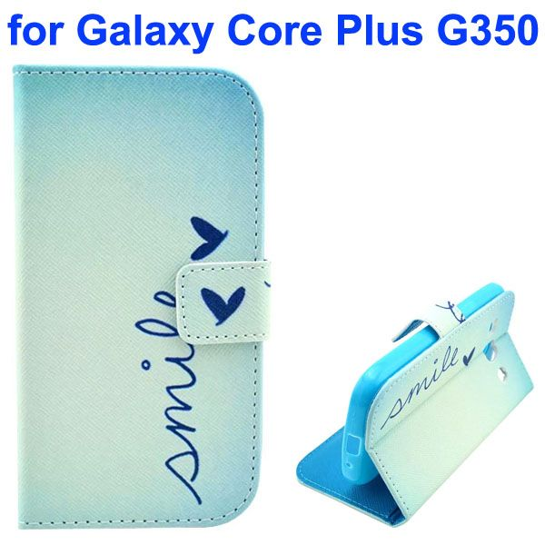 3D Printing Cross Texture Wallet Flip Leather Case for Samsung Galaxy Core Plus G350 (Pure Life)
