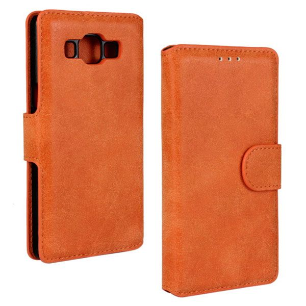 Frosted PU Leather Flip Cover for Samsung Galaxy A5 (Orange)