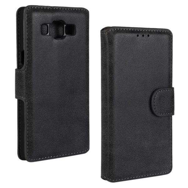 Frosted PU Leather Flip Cover for Samsung Galaxy A5 (Black)