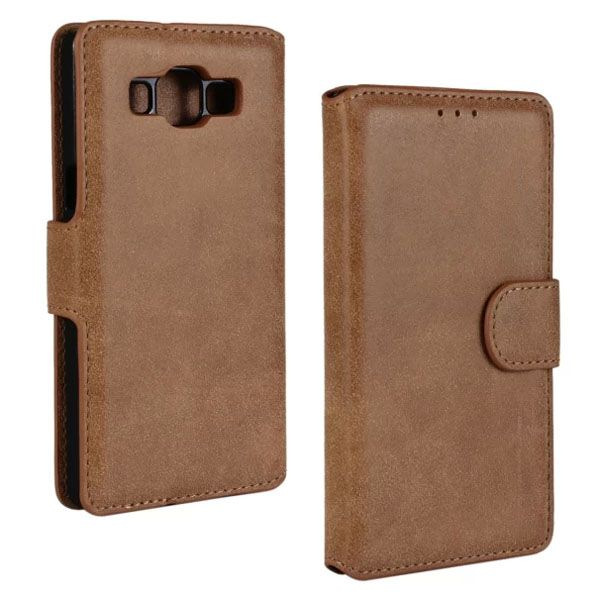Frosted PU Leather Flip Cover for Samsung Galaxy A5 (Brown)