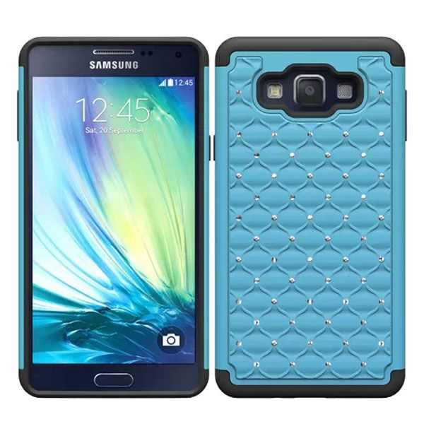 Bling Bling Crystal Design Silicone and PC Hybrid Cell Phone case for Samsung Galaxy A7 (Lake Blue)